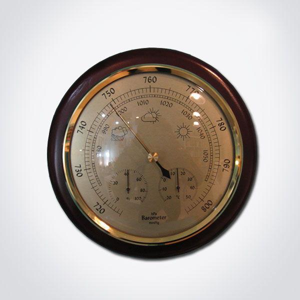 Barómetro analógico con termómetro e higrómetro diámetro 160 mm.
