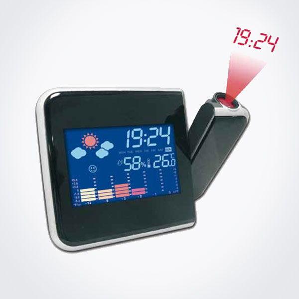 Estación meteorológica digital con proyección de la hora