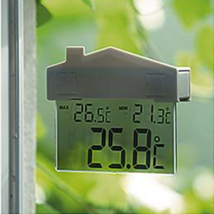 Termómetro digital para ventana con forma de casa