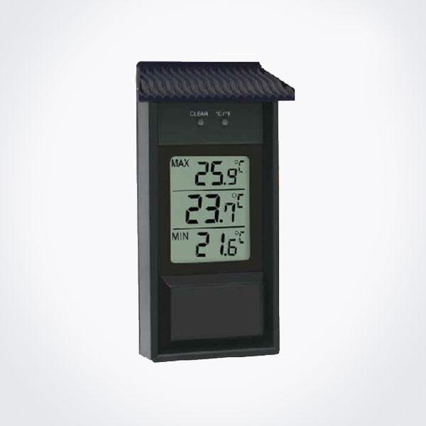 Termómetro digital para interior o exterior de plástico negro