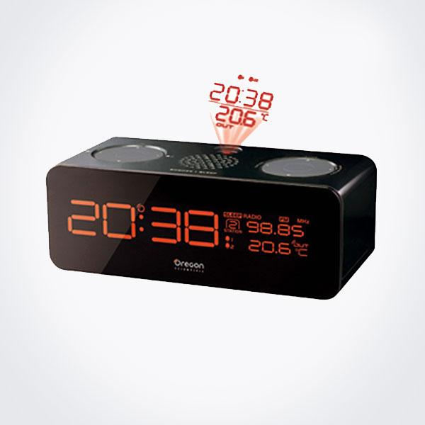 Radio reloj despertador con proyección de hora y temperatura exterior Oregon RRM-320-P