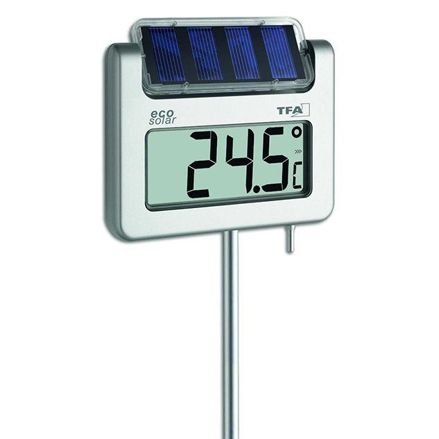 Termómetro digital de jardín con panel solar TFA 30.2026