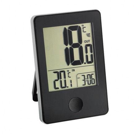 Termómetro digital interior/exterior con reloj TFA 30.3051.01 color negro