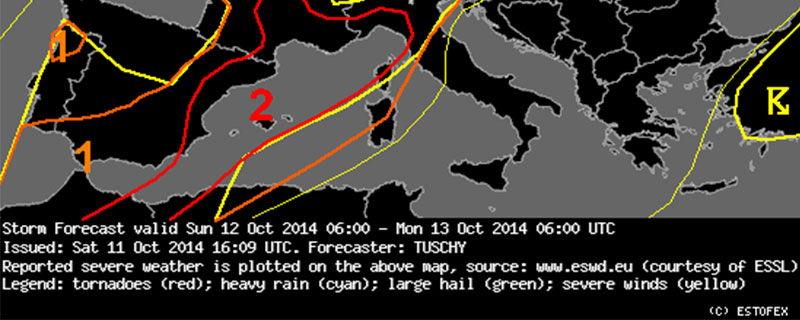 En el mapa previsto por el modelo ESTOFEX podemos observar la posibilidad que hubiese tormentas con fenómenos severos, como granizo o algún tornado (Fuente: ESTOFEX).