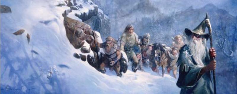 La Compañia busca un refugio ante la intensidad de la, ahora ya, tormenta de nieve.