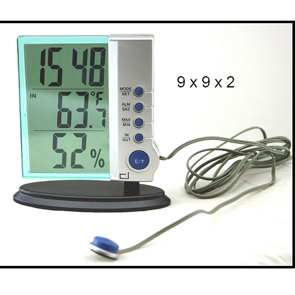 Termómetro interior y exterior con reloj y alarma