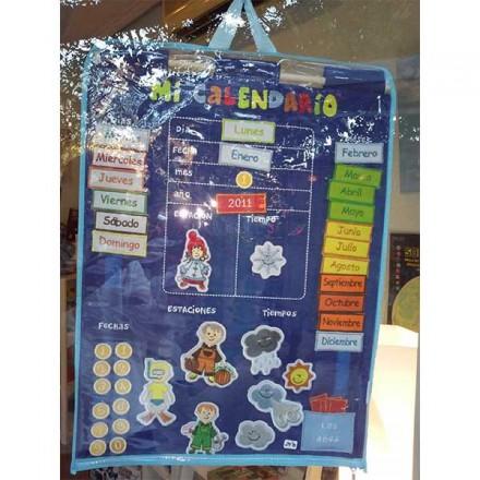 Calendario diario y meteorológico con velcros