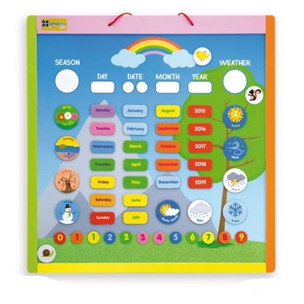 Calendario magnético en inglés Andreu Toys