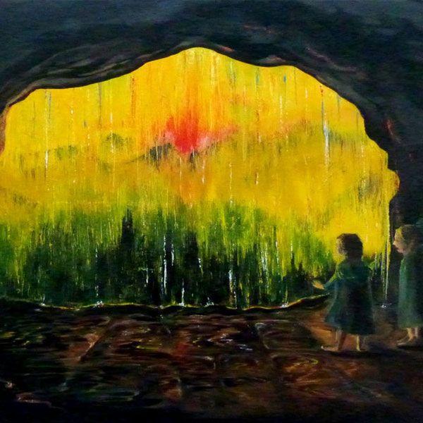 La puesta de sol tras la cascada