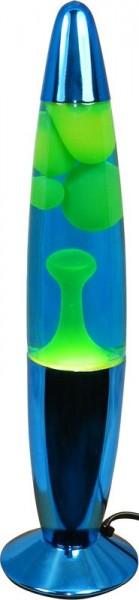 Lámpara de lava 34 cm. con cuerpo metálico azul y lava amarilla