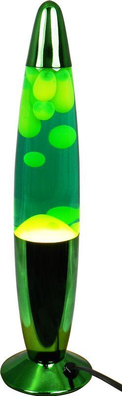 Lámpara de lava 34 cm. con cuerpo metálico verde y lava amarilla