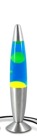 Lámpara de lava de 34 cm. amarilla y azul con cuerpo metálico