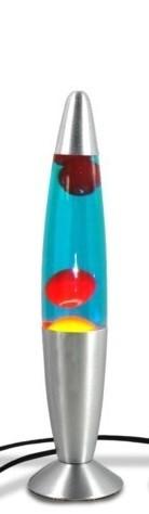Lámpara de lava de 34 cm. azul y roja con cuerpo metálico