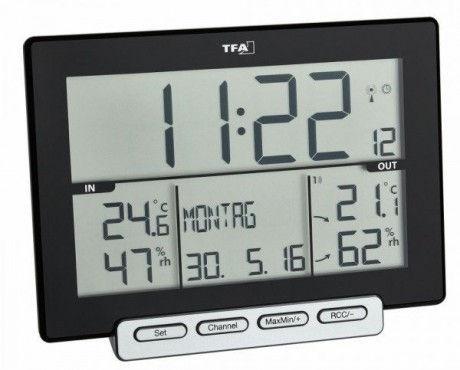 Termohigrómetro digital con reloj de números grandes TFA 30.3058.01