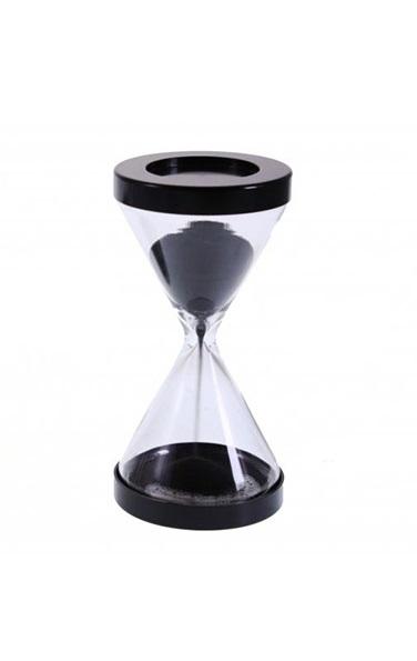 Reloj de arena de 1 minuto con diseño triangular y base metálica negra